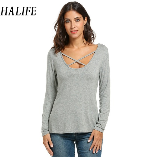 Female Women Casual Cross Front Long Sleeve Tops Sexy O Neck Back V Hollow Out T-Shirt Poleras De Mujer Tee Shirt Femme 1205