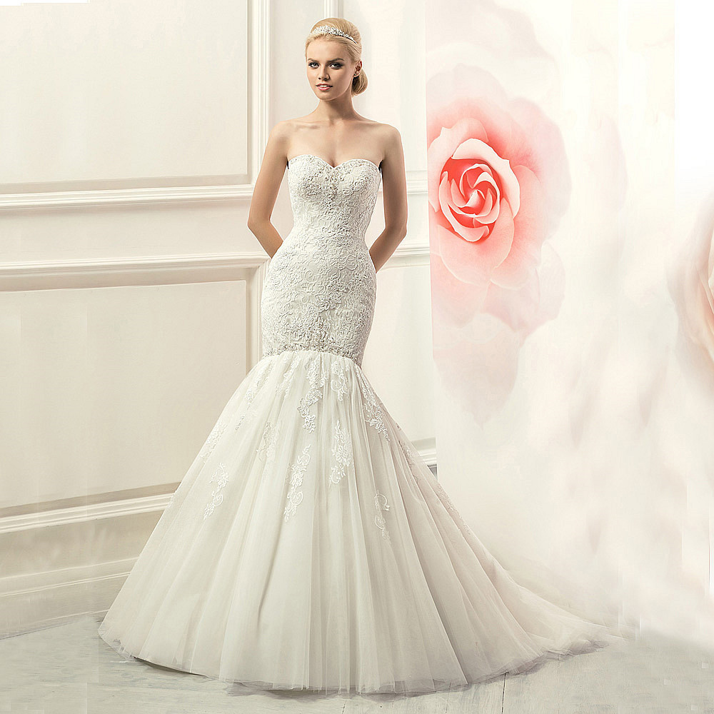 W3140 Sexy Lace Trumpet Wedding Dresses 2015 Off The