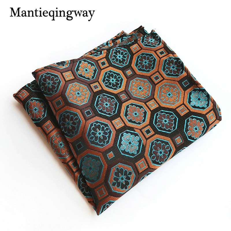 Mantieqingway 25cm Pocket Square For Wedding Party Business Suits Mens Handkerchiefs Hanky Polyester Chest Towel Handkerchiefs