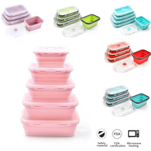 4 Size Foldable Portable Silicone Lunch Box Microwavable Bento Food Crisper Container Kids School Picnic Lunchbox BPA Free