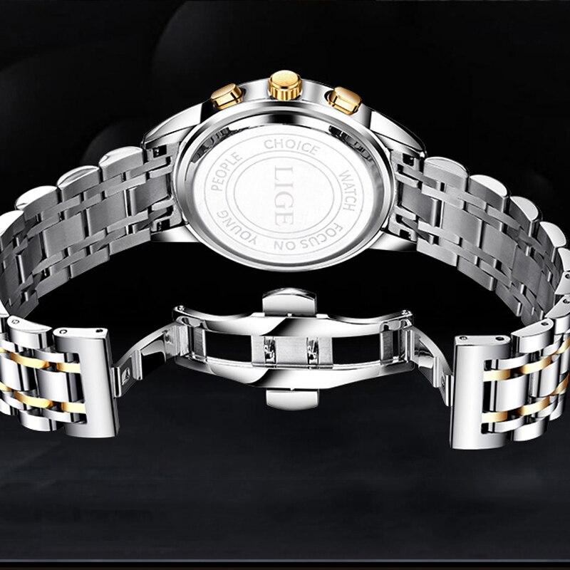 LIGE Men 39 s Watches Military Luxury Brand Watch Mens Quartz Stainless Steel Clock Fashion Chronograph Watch Man Relogio Masculino in Quartz Watches from Watches