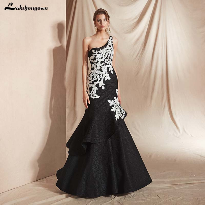 One Shoulder Black Evening Gowns Lace Mermaid Evening Dress 2019 Sexy Backless Floor Length Long Prom