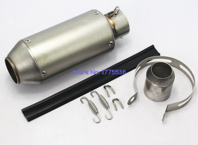 Universal L: 235mm ID: 51mm Motorcycle Motorbike Exhaust Pipe Muffler Stainless Steel Exhaust Muffler Escape