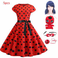 Carnival 2019 Adult Ladybug Summer Clothes Lady bug Party Dress Kids Halloween Christmas Party Cosplay Lace Dot Ladybug Dresses