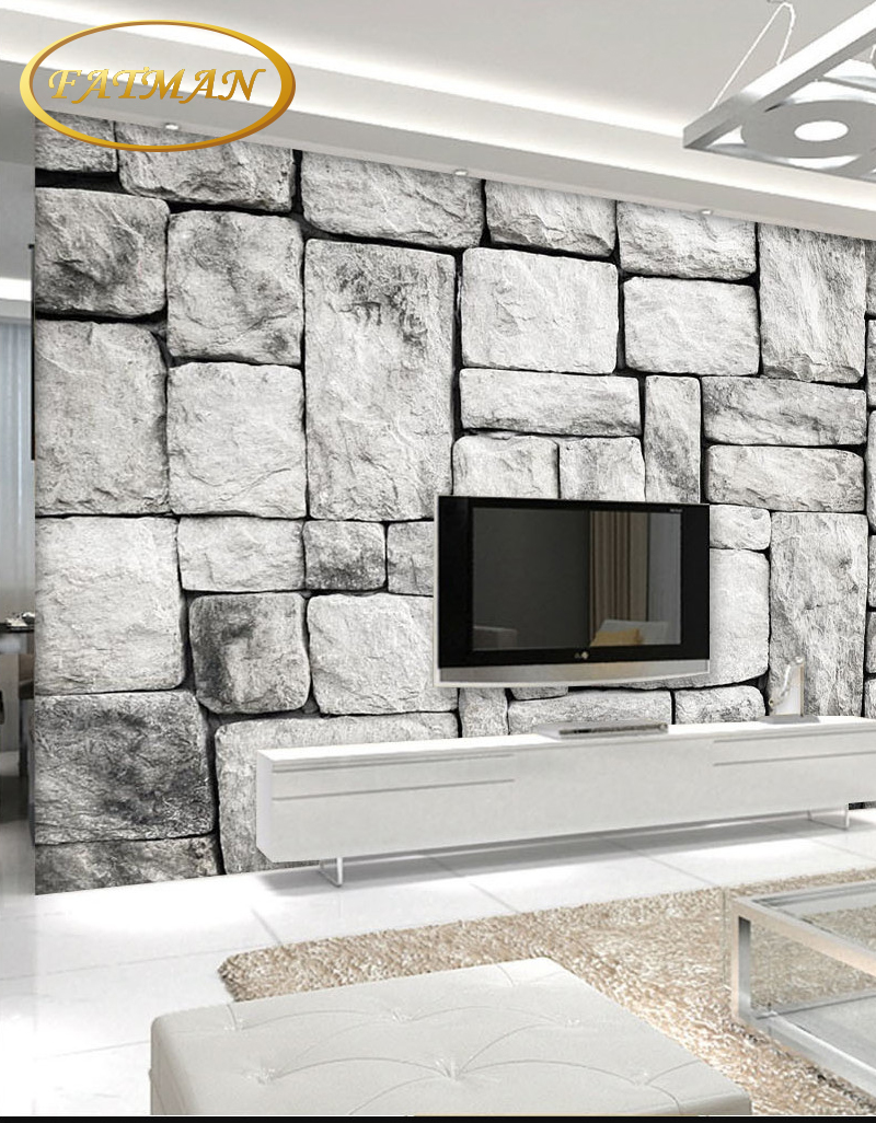 3D nature wallpapers Gray White Stone Brick Wall Retro l Living Room ...