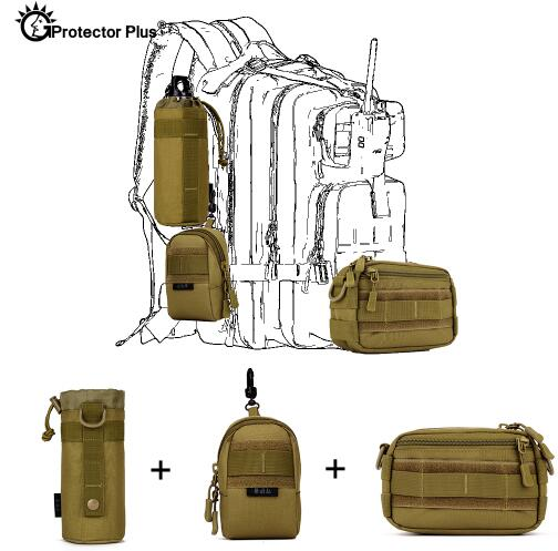 PROTECTOR PLUS Tactical Pouch Set 3 Bags Molle Expand Outdoor Sports Hunting Cycling Camo Bag Single Shoulder Waist Waterproof