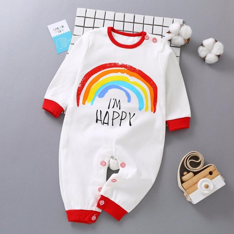 Winter Newborn Baby Clothes Cartoon Rainbow Print Baby Romper Long Sleeve baby girl clothes Soft Warm Infant baby jumpsuit цены онлайн