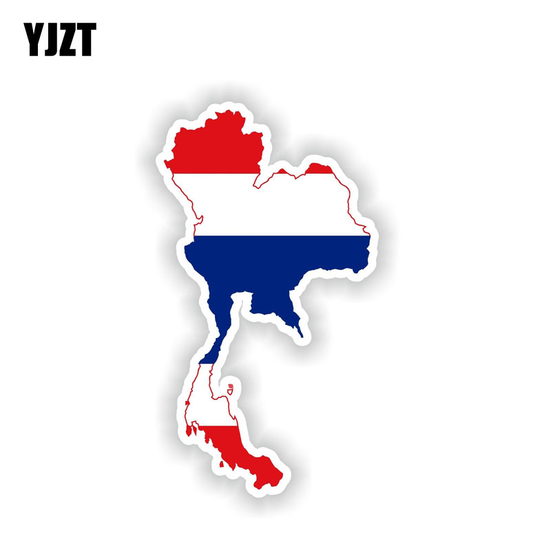 YJZT 7.6CM*13.7CM Car Styling Thailand Map Motorcycle Helmet Car Sticker Accessories Decal 6-2145