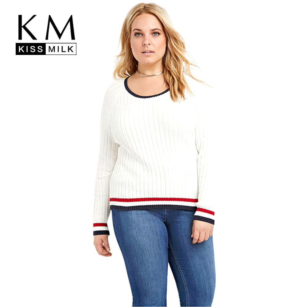 Kissmilk Plus Size New Fashion Women Clothing Casual Long Sleeve O Neck Tops Patchwork Two tone Slim Big Size Sweater 3XL 6XL in Pullovers from Women 39 s Clothing