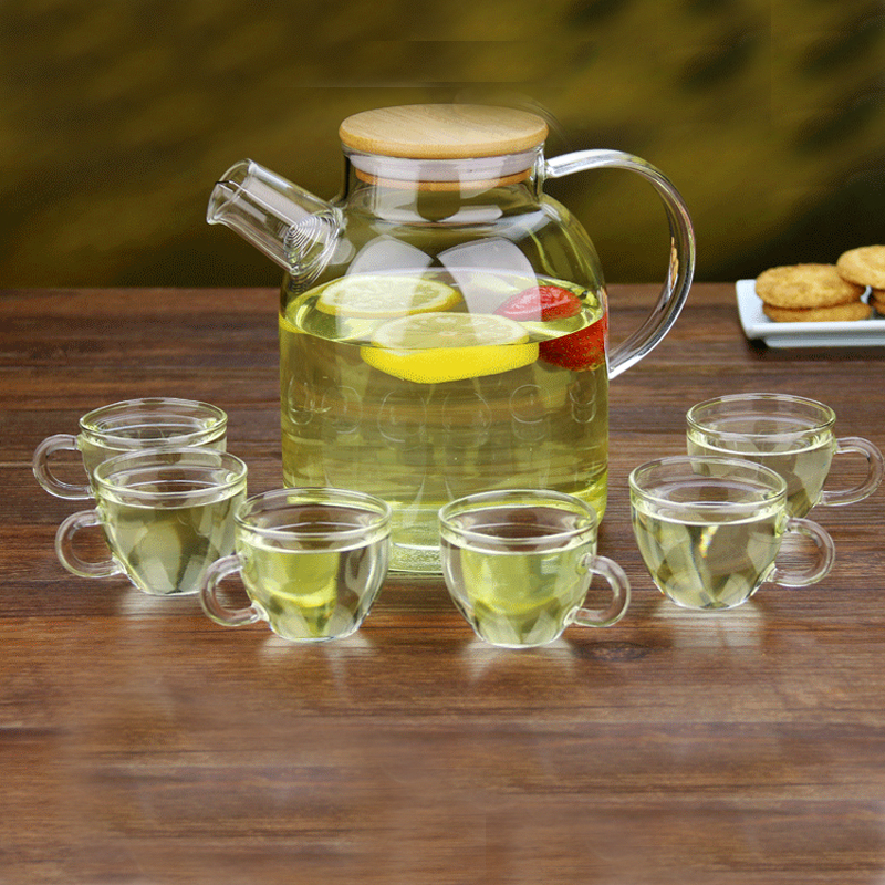 PINDEFANG 7in1 Summer 1.6L Iced Tea Jug with Bamboo Lid Giftset Glass Drinkware Health Life House Decoration Jugs Jar Wholesale