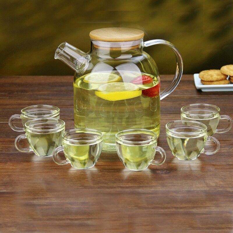 Pindefang 7in1 Лето 1.6l, Чай кувшин с крышкой бамбука Giftset Стекло Посуда для напитко ...