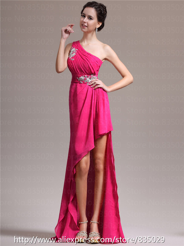 One Shoulder Venus Cut Pleated And Appliqued Chiffon High Low