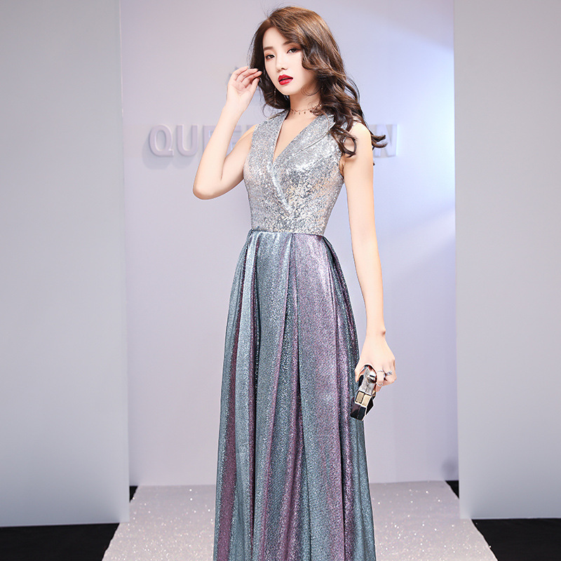 Evening Dress V-neck Formal Dresses Shining Sleeveless Lace Up Long Party Gown Vestidos Size S-XXL