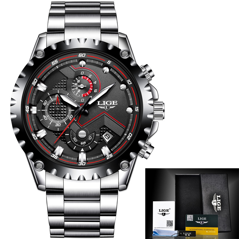 LIGE New Top Luxury Brand Mens Watches Military Sport Waterproof Quartz Watch Men Full Steel Black Clock Relogio Masculino+Box