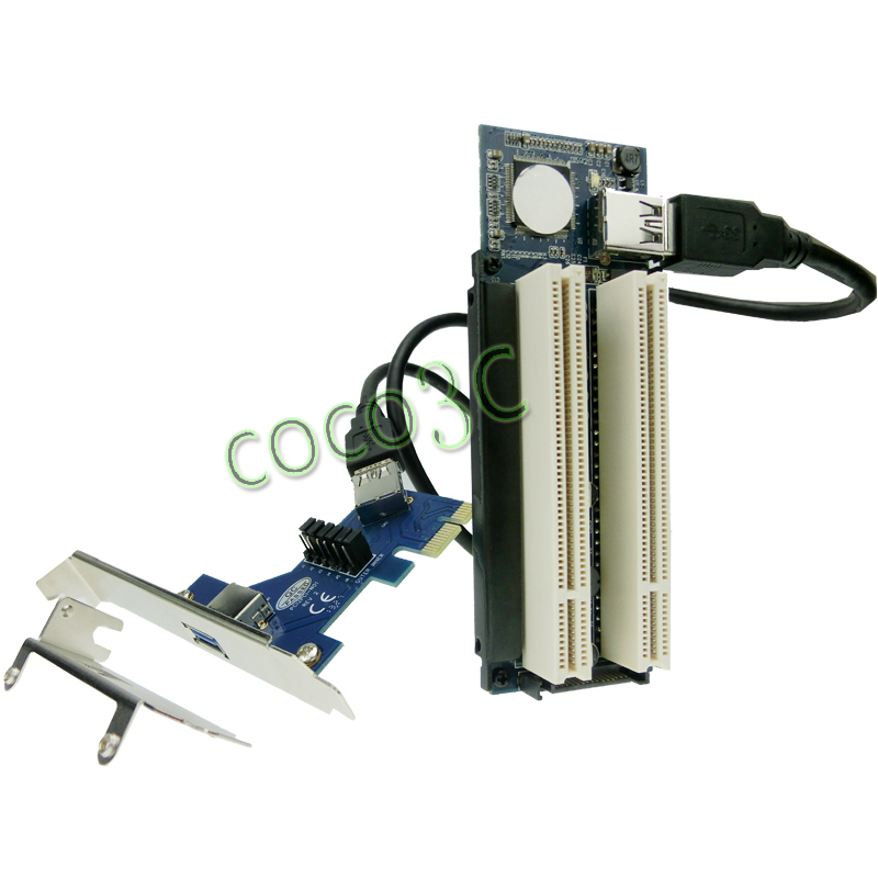 Free shipping pci express to 2 pci converter card PCIe x1 x4 x8 x16 to external Dual PCI slots adapter