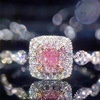Euramerican di Marca 925 Sterling Silver Ring per le Donne di Lusso ROSA Principessa taglio Diamante della cz gioielli Anello di nozze di Fidanzamento dito