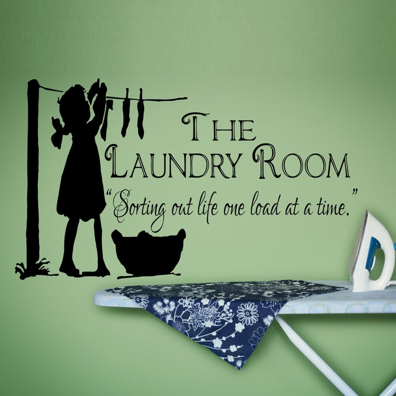 DIY waterproof and removable wall sticker of a little lovely girl hanging out clothes wallpaper for the The Laundry Room decor