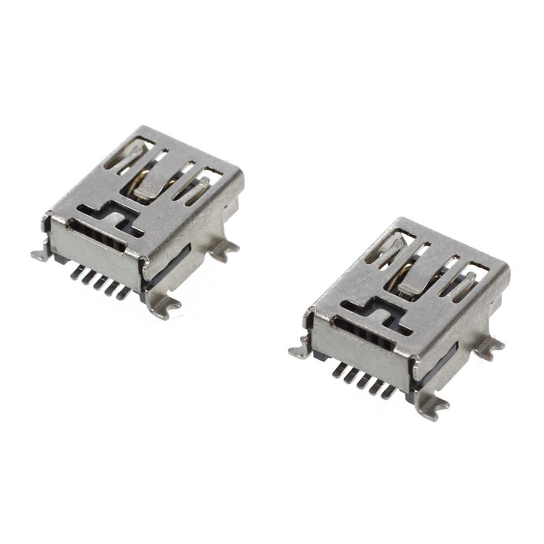 10 sztuk Mini USB 5 pinowe gniazdo żeńskie DIY złącze SMT srebrny Tone ciemny szary