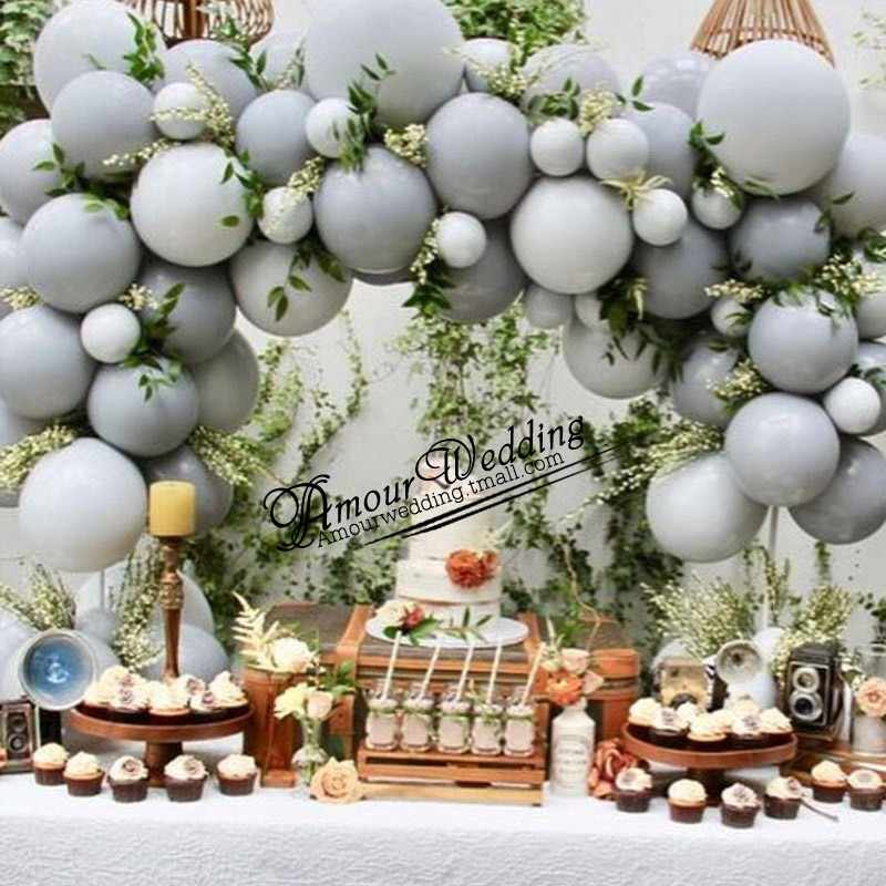 50pcs/lot new popular 10inch gray balloon mixed color matte latex xenon inflatable wedding birthday party decorative balloons