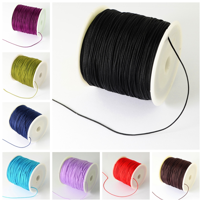 0.5mm; about 135m/roll Nylon Thread Cord for Jewelry Making DIY Accessories Necklace Bracelet, Black Red White Blue sumajin smartwrap cord manager red black white