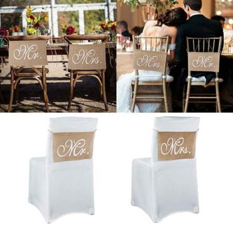 Mr & Mrs Burlap Chair Banner Set Chair Sign Garland Rustic Vintage Wedding Party Chair Decoration - 14 x 9 - 1 Pair