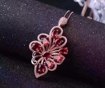 natural red garnet gem pendant S925 silver Natural gemstone Luxury elegant butterfly fly Pendant Necklace women wedding jewelry