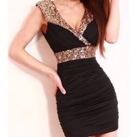 Fashion New Sexy Low Cut V Neck Racerback Slim Hip Paillette Decoration Evening Party Mini Dresses