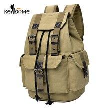 Top Canvas Backpack Men Drawstring Webbing Snap Travel Luggage Army Bags Military Rucksack Hiking Climbing Bags