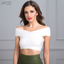 ADYCE High Quality 2018 New Knitted White Black Bodycon Bandage Tops Sexy Off Shoulder Fashion Short Tank Top For Women Vestidos