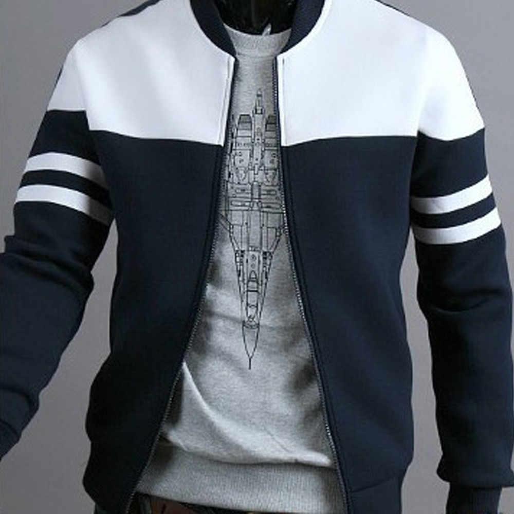 Mode Für Männer Herbst Winter Bomber Jacke Kausalen Zipper Sportswear Patchwork Jacke Langarm Mantel streetwear chaqueta hombre