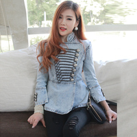 Fashion European Designer Spring Autumn Women Palace Cowboy Jacket Female Retro Slim Short Vintage Grinding Whitewash