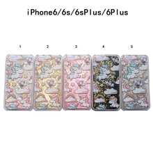 Cartoon Unicorn Horse Cover Dynamic Paillette Glitter Stars Water Dynamic Liquid Case for iPhone 4 4S SE 5 5S 5C & 6 6S 7 & Plus