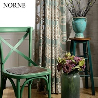 NORNE Jacquard With Sage Voile Window Semi Sheer Curtains Panels Bedroom Tule Bordado Window Curtains For