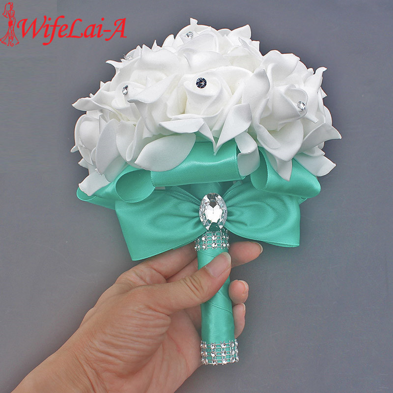 Cheap Prom Baby Blue Flower Brooch Wedding Bouquet De Mariage Wedding Bouquets PE Rose Diamond Ribbon Bouquet W2017D