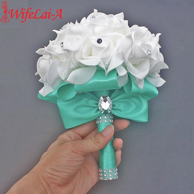 Cheap Prom Baby Blue Flower Brooch Wedding Bouquet De Mariage Wedding Bouquets PE Rose Diamond Ribbon Bouquet W2017D