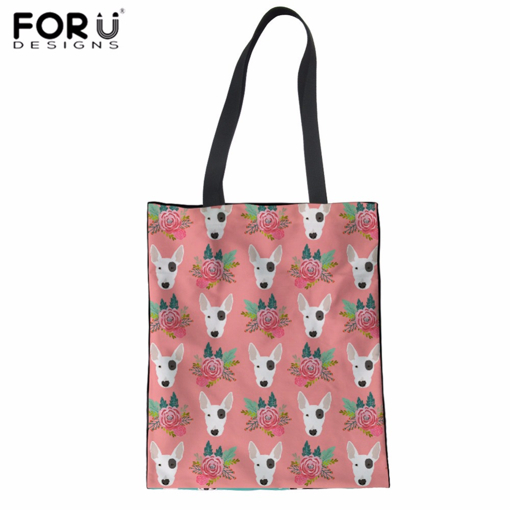 FORUDESIGNS Canvas Tote Bag Pit Bull Terrier Print Linen Shopping Bag Teenager Girls Daily Shoulder Bag Women's Cotton Beach Bag
