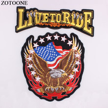 DIY Punk Large Back Iron on Patches For Jeans Embroidered Rock American Flag Eagle Wing LIVE TO RIDE Clothing Jacket Biker H