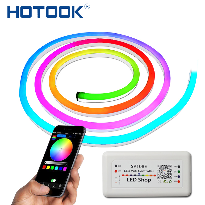 все цены на HOTOOK Digital Full Color LED NeonIC1904 Individually Addressable Pixel IP67 Waterproof LED Strip Dream Color Neon for outdoor онлайн