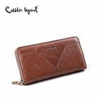 Cobbler Legend New Diamond Pattern Purse Vintage Long Cowhide Leather Women Wallet Zipper Purse Wallet Female Phone Holder