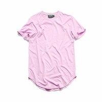 Curved Hem Hip Hop Tshirt Men Summer Blank Extended Mens T Shirts Urban Kpop Men Tee