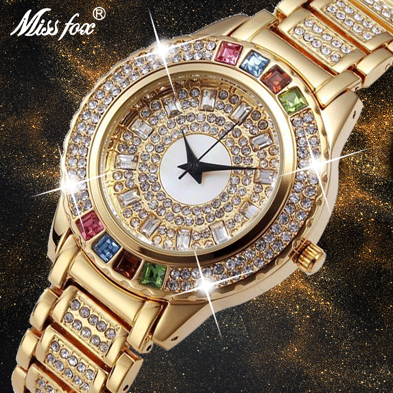 MISSFOX Ladies Gold Party Watches Women Diamond Fashion China Watches Luxury Brand Golden Clock For Ar Female Quartz Wristwatch
