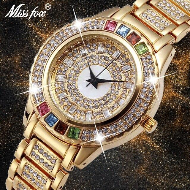 Missfox senhoras festa de ouro relógios mulheres diamante moda china relógios marca luxo relógio de ouro para ar feminino quartzo relógio de pulso