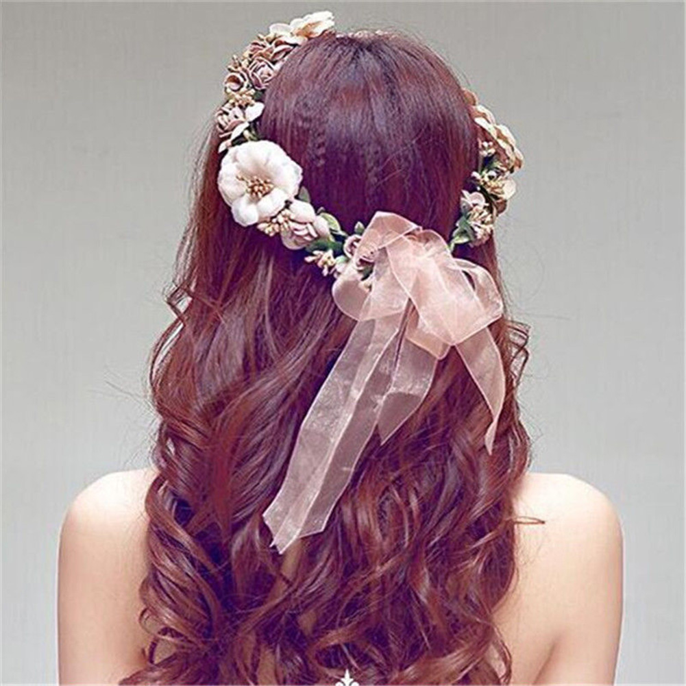 Boho Style Artificial Floral Women Hairband Wedding Party Bride Beach Headband