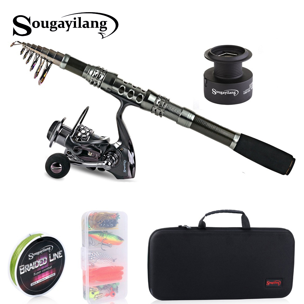 Sougayilang Telescopic Fishing Rod With Spinning Reels Combos Fishing Reel Pole Lure Line Bag Sets Kit