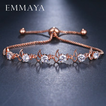 EMMAYA Crystal Adjustable Bracelet for Women Rose Gold Color Cubic Zirconia CZ Bracelets & Bangles Chain Jewelry Gift(China)