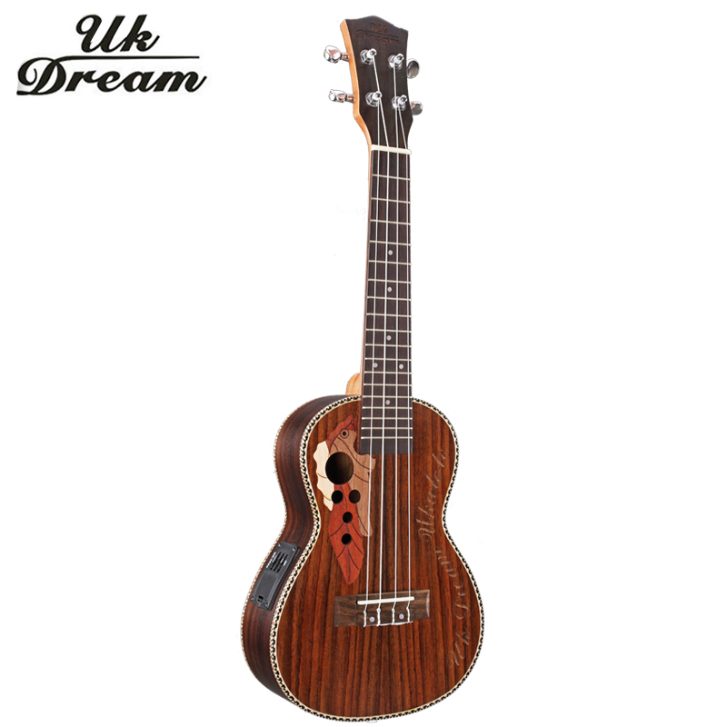 4 Strings Electric Guitar 23 Inch With Electric Box Full Rosewood Grape Hole Ukulele 18 Frets Guitars Guitarra Electric UC-73MEQ savarez 510 cantiga series alliance cantiga ht classical guitar strings full set 510aj