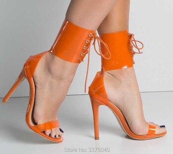 Summer Sandals Sexy Transparent PVC Gladiator Sandals Cross Strappy Peep Toe Shoes Clear Thin Heels Women Shoes римские сандали