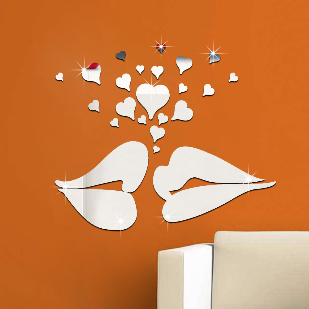 26 Pcs/Set <font><b>3D</b></font> Acrylic Mirror Surface <font><b>Wall</b></font> <font><b>Sticker</b></font> <font><b>Sexy</b></font> Lips Kiss Heart Design for Room <font><b>Wall</b></font> Decoration Golden Silver Removable image