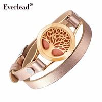 EVERLEAD Wrap Bracelets For Women Rose Gold Color Tree Of Life Leather Bracelet Aromatherapy Perfume Diffuser