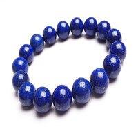 12mm Genuine Natural Blue Lapis Lazuli Stone Round Bead Bracelets Women Mens Stretch Powerful Bracelet